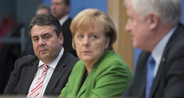Machtmenschen: Sigmar Gabriel (SPD), Angela Merkel (CDU) und Horst Seehofer (CSU). Foto: Marco Urban