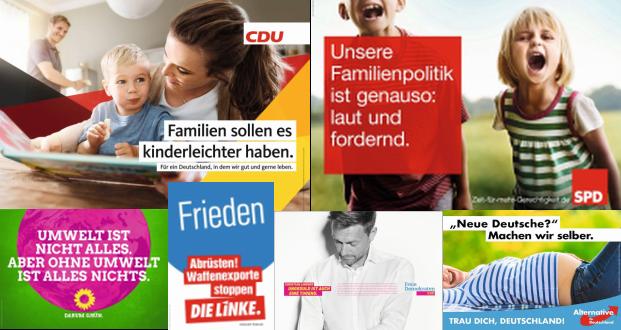 Plakate (c) CDU; SPD; Grüne; Linke; FDP; AfD